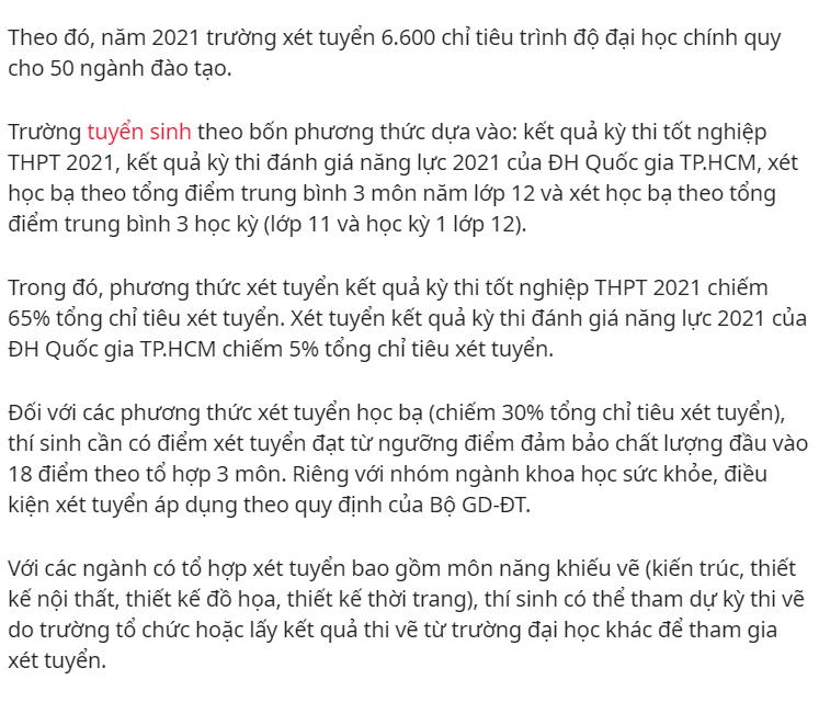 THÔNG TIN TUYỂN SINH ĐẠI HỌC CÔNG NGHỆ TP.HCM NĂM 2021