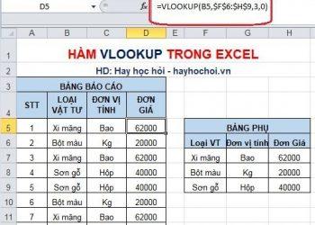 Công thức vlookup trong Exel và cách dùng