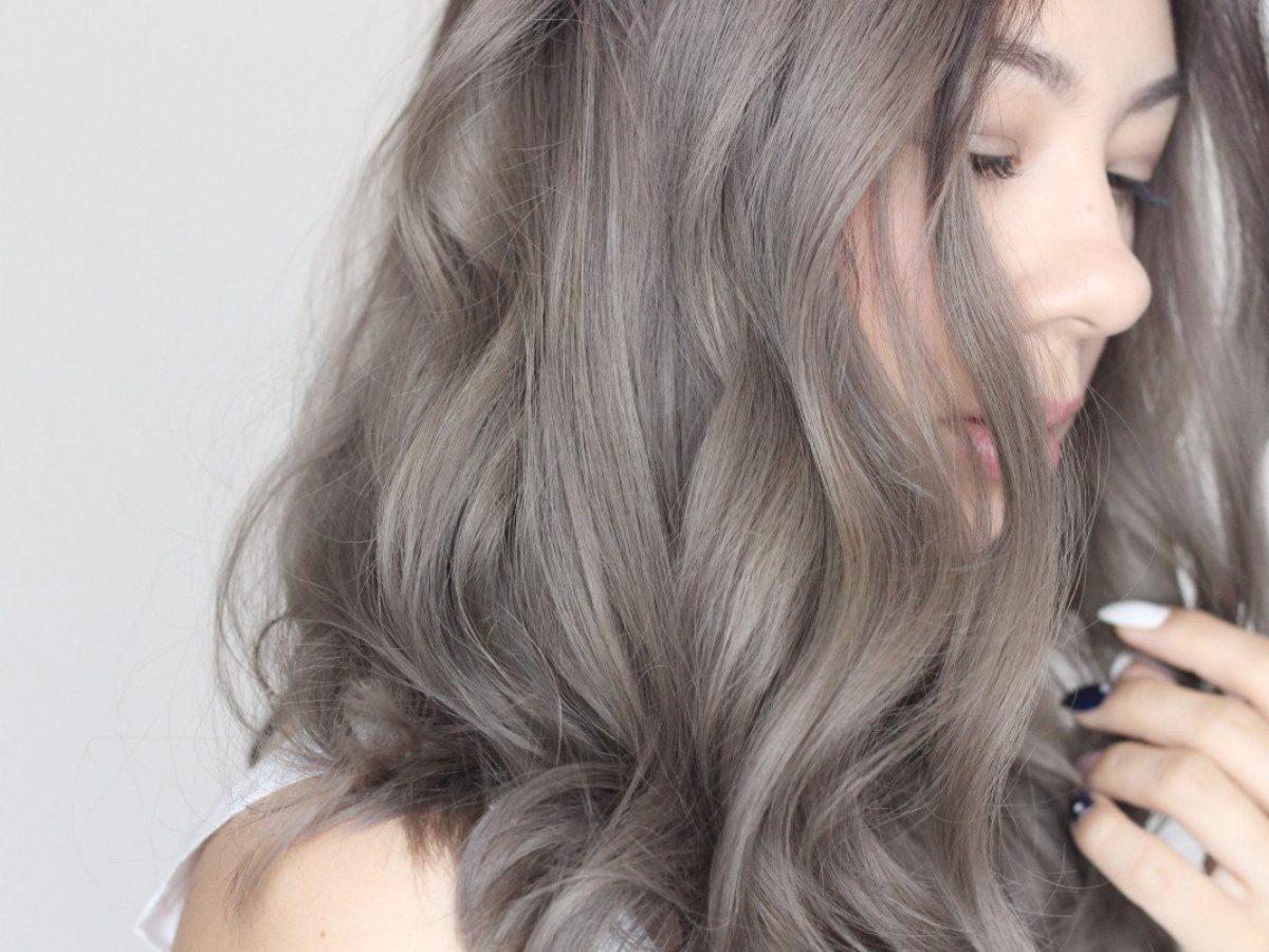 nhuộm tóc màu xám khói