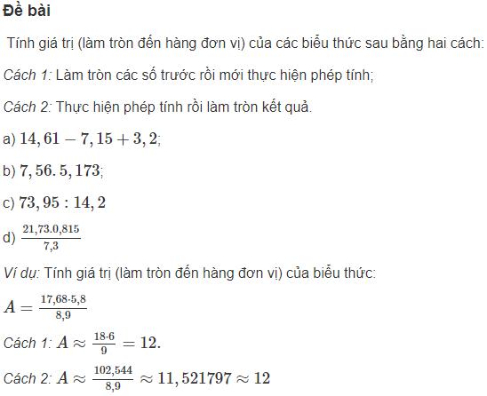 Làm tròn số thập phân đến số nguyên gần nhất
