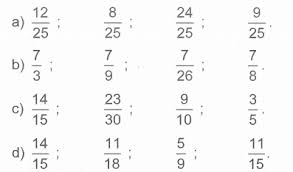 Sắp xếp thứ tự các phân số từ Ít nhất đến Lớn nhất