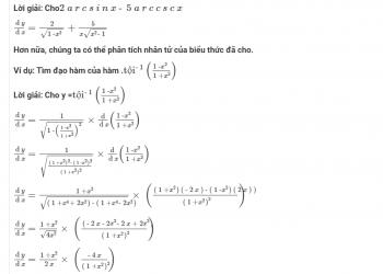 Đạo hàm của các hàm lượng giác ngược