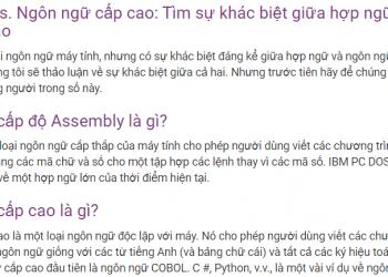 Sự khác biệt giữa hợp ngữ và ngôn ngữ cấp cao